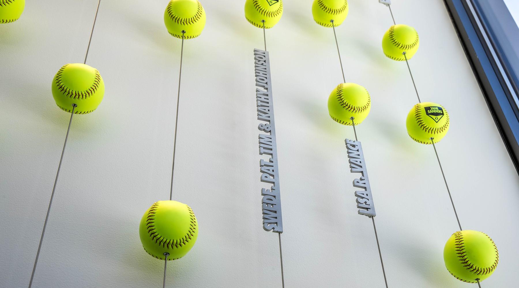 Softball display closeup